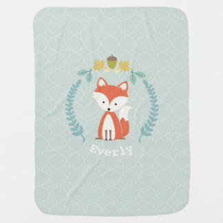 Fox Wreath Quatrefoil Baby Blanket - Girl