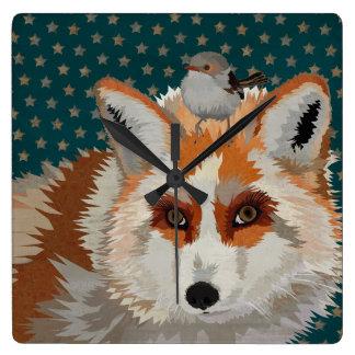 FOX & WREN SQUARE WALL CLOCK