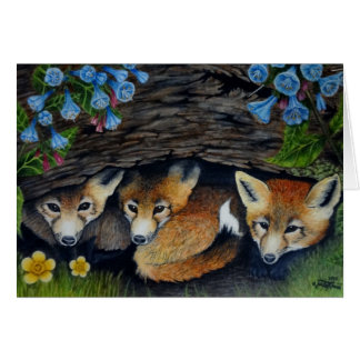 Foxes and blue bells greeting card