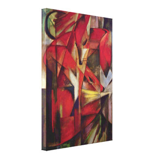 Foxes by Franz Marc, Vintage Abstract Cubism Art Stretched Canvas Prints
