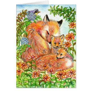 Foxes Cuddling In Flower Patch Card
