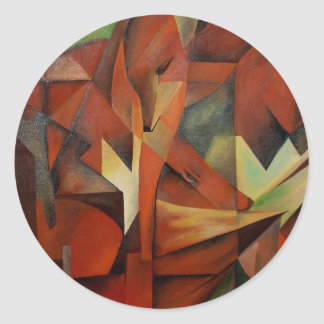 Foxes -  Homage to Franz Marc (1913) Classic Round Sticker