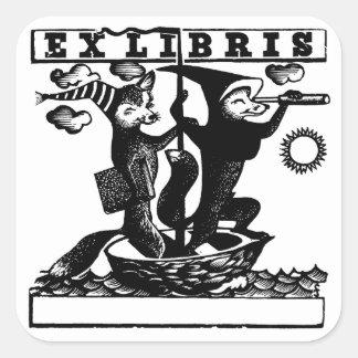Foxes in boat square sticker