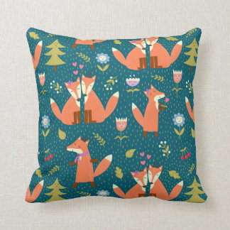 Foxes in Love Throw Pillow