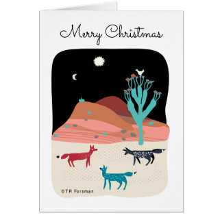 Foxes in night desert with cactus, star and bird card