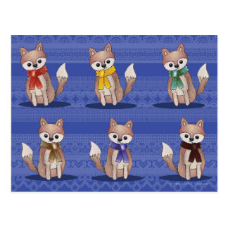 Foxes in Scarves Postcards