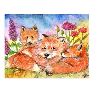 Foxes in the Flower Patch Postcard