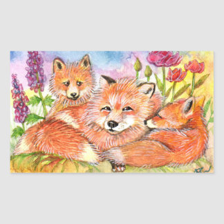 Foxes in the Flower Patch Sticker