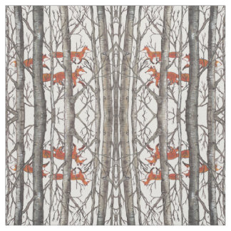 Foxes in Winter Woods Gray Designer Fabric Art