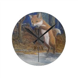 Foxes! Jumping Fox Wall Clock. Western Red Fox. Wall Clocks