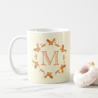 Foxes, Laurel and Hearts Wreath with Monogram Coffee Mug