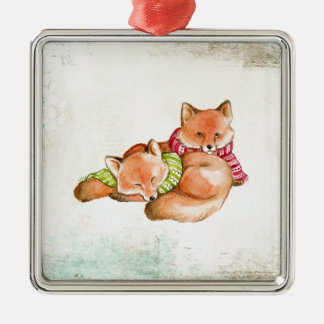 Foxes Metal Ornament