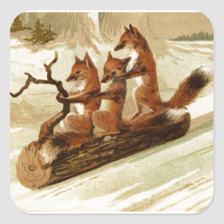 Foxes On Log In Snow Square Sticker
