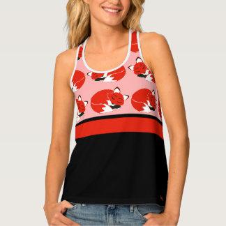 Foxes Orange Black Panel Women's Print Tank Top