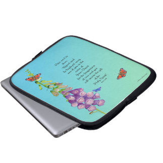 Foxglove Flower Watercolor Butterflies Bible Verse Laptop Sleeve