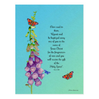 Foxglove Flower Watercolor Butterflies Bible Verse Postcard