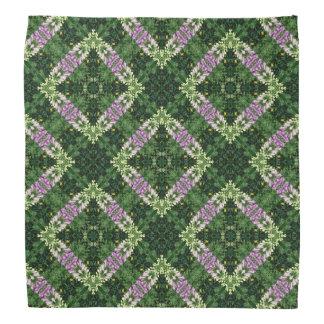 Foxglove flowers and dark green leaves pattern bandanna