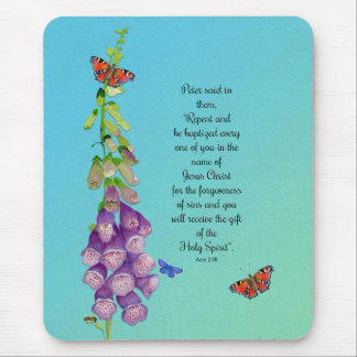 Foxglove Flowers Watercolor Butterflies Bible Vers Mouse Pad