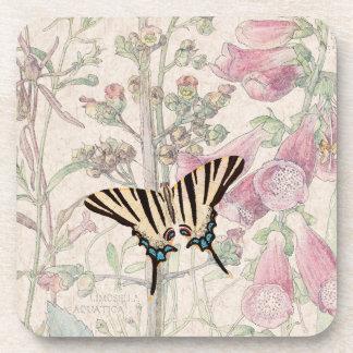 Foxglove Flowers Wildlife Butterfly Coaster