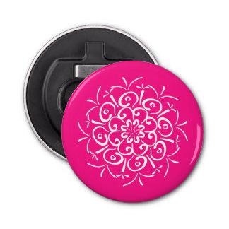 Foxglove Mandala Button Bottle Opener