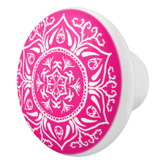 Foxglove Mandala Ceramic Knob
