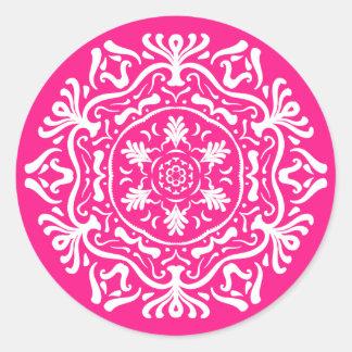 Foxglove Mandala Classic Round Sticker