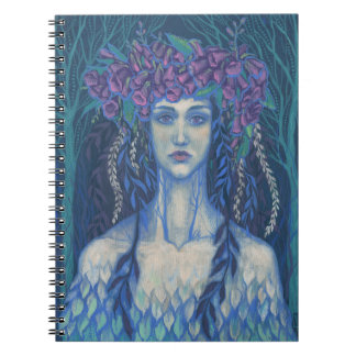 Foxgloves dryad beautiful girl surreal fantasy art notebook