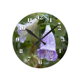 Foxgloves in the Rain Wall Clock