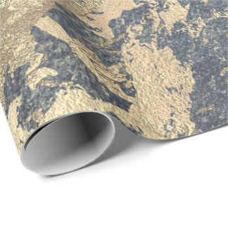 Foxier Blue Gray Gold Marble Shiny Metallic Grungy Wrapping Paper