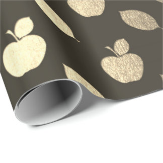 Foxier Gold Black Metallic Apple Fruits Foil Wrapping Paper