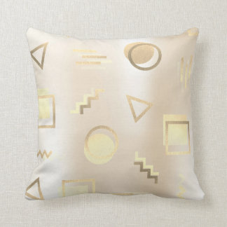 Foxier Gold Geometry Retro Pearly Creamy Ivory Throw Pillow