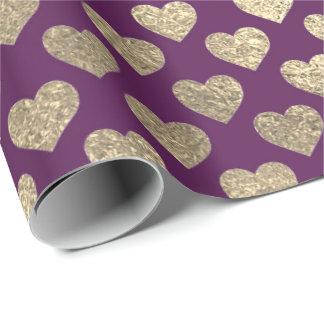 Foxier Gold Glitter Metallic Purple Plum Hearts Wrapping Paper