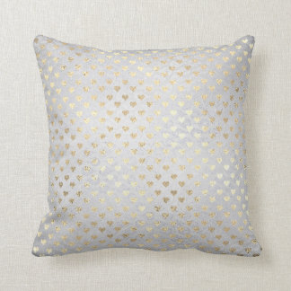 Foxier Gold Gold Hearts Silver Gray Cottage Throw Pillow