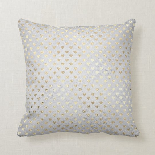 Foxier Gold Gold Hearts Silver Grey Cottage Throw Pillow