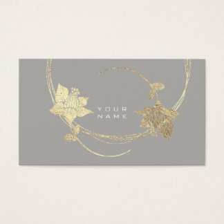 Foxier Gold Rose Gray Lila White Floral Glam Business Card