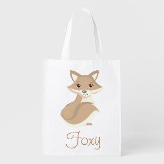 Foxy Brown Fox Reusable Grocery Bag