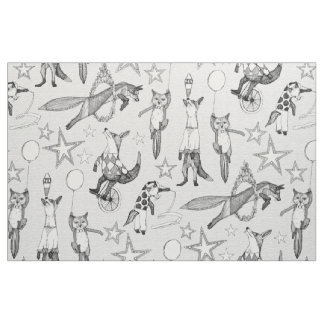 foxy circus black white fabric