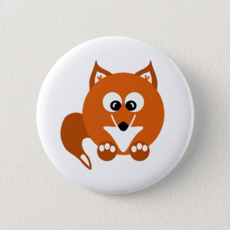 Foxy Fox Cartoon Button Badge