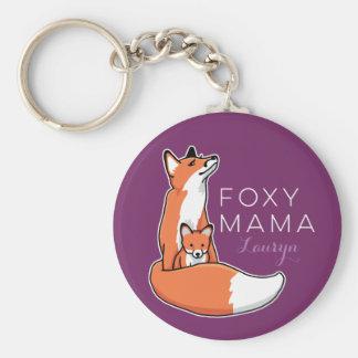 Foxy Fox Mama with Baby, Personalized Basic Round Button Keychain