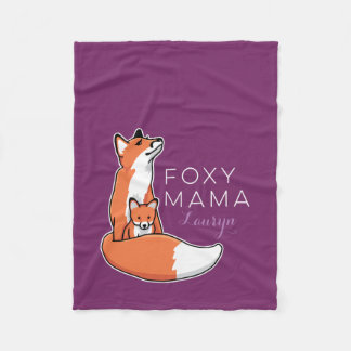 Foxy Fox Mama with Baby, Personalized Fleece Blanket