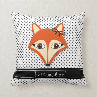 Foxy Fox Pillow Polka Dots Black White Personalize