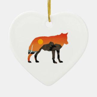 Foxy Sunset Ceramic Heart Ornament