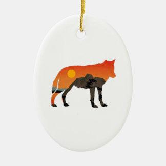 Foxy Sunset Ceramic Oval Ornament