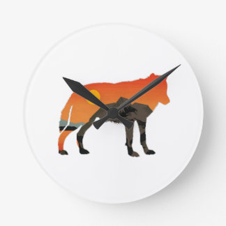 Foxy Sunset Round Clock