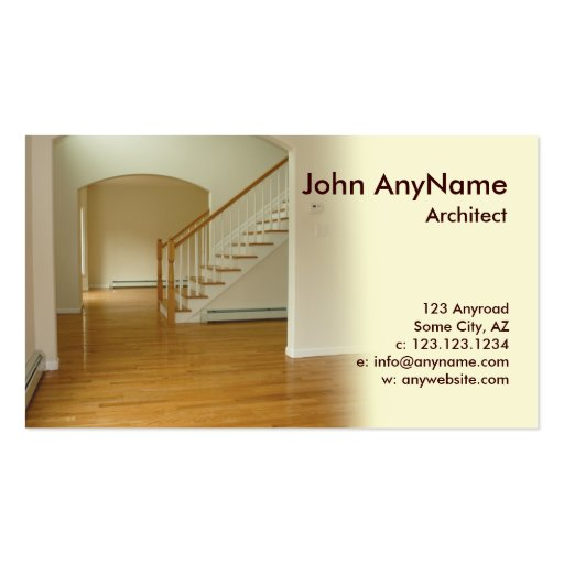 foyer in new construction home pack of standard business cards