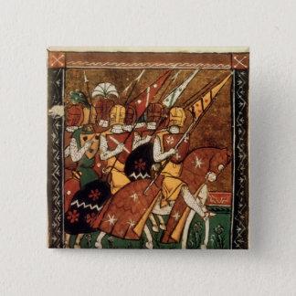 Fr 9084 f.20v: Knights on horseback 2 Inch Square Button
