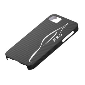 FR-S White Brushstroke on Faux Carbon FIber iPhone 5 Cases