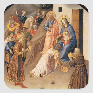 Fra Angelico- Adoration of the Magi Square Sticker