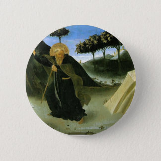 Fra Angelico- St Anthony Tempted by a Lump of Gold 2 Inch Round Button