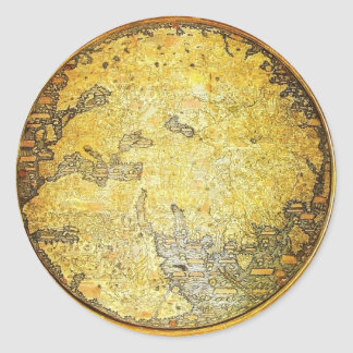 Fra Mauro World Map Classic Round Sticker